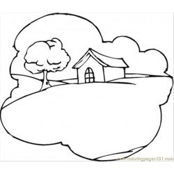 Cottage On The Hill Free Coloring Page for Kids