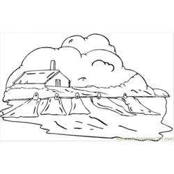Country House In The Clouds Free Coloring Page for Kids