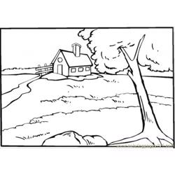 Country House Near The River Free Coloring Page for Kids