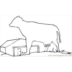 Farmhosue With The Cow Free Coloring Page for Kids
