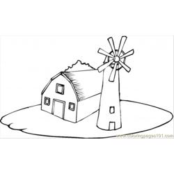 Farmhouse Near The Windmill Free Coloring Page for Kids
