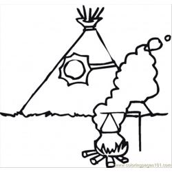Fire Near Wigwam Free Coloring Page for Kids