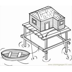 Ges Photo Stilt House Dm16117 Free Coloring Page for Kids