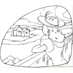 Girl Is Looking At Her Country House Free Coloring Page for Kids