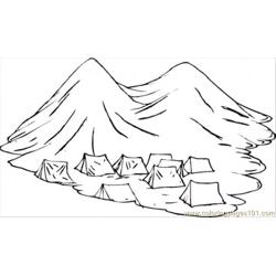 Group Of Nomads Tents In The Mountains Free Coloring Page for Kids