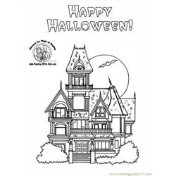 Haunted House Coloring Pages Free Coloring Page for Kids