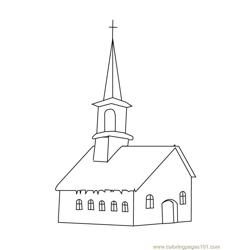Church house Free Coloring Page for Kids