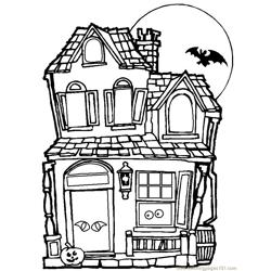Haunted house Free Coloring Page for Kids