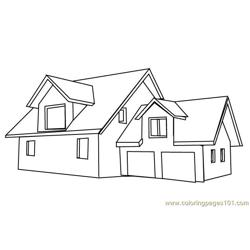 American style house Free Coloring Page for Kids