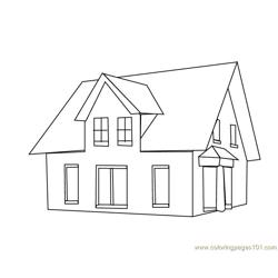 Single home Free Coloring Page for Kids