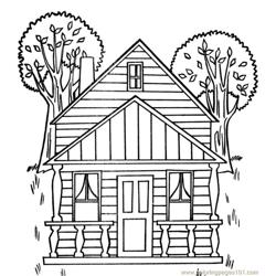 Tree house Free Coloring Page for Kids