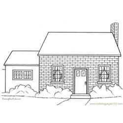 Block style house Free Coloring Page for Kids