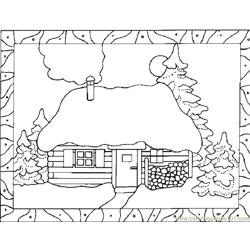 Snow fall house Free Coloring Page for Kids