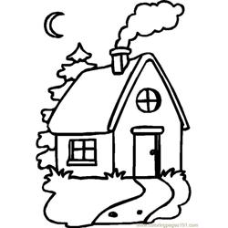 Simple single home Free Coloring Page for Kids