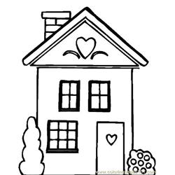Heart design house Free Coloring Page for Kids