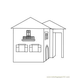 2 floor house Free Coloring Page for Kids