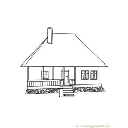 New style house Free Coloring Page for Kids