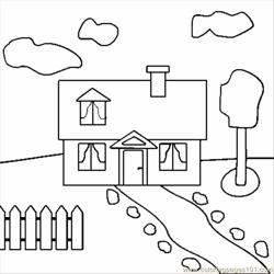 House Free Coloring Page for Kids