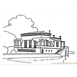 Luxury Country House Near The Lake Free Coloring Page for Kids