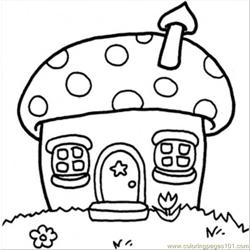 Mushroom Cottage Free Coloring Page for Kids