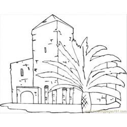 Villa Near The Palms Free Coloring Page for Kids