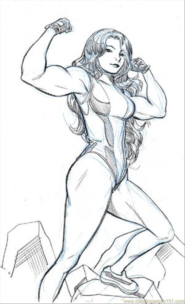 She Hulk By Wieringo Coloring Page