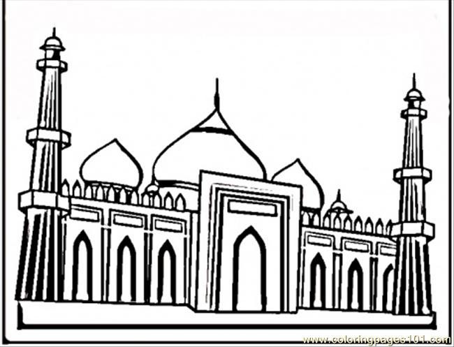 Famous Taj Mahal Coloring Page