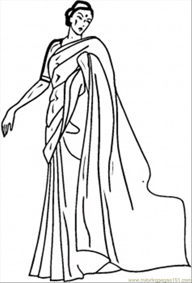 Indian Woman Coloring Page Free
