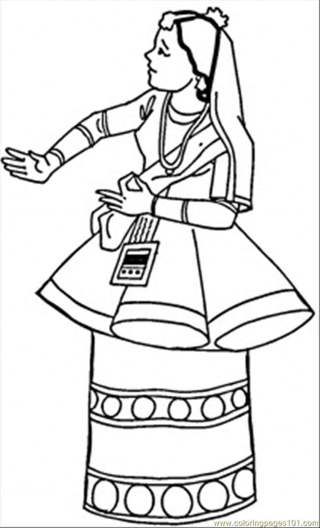 National Clothing Coloring Page Free India Coloring