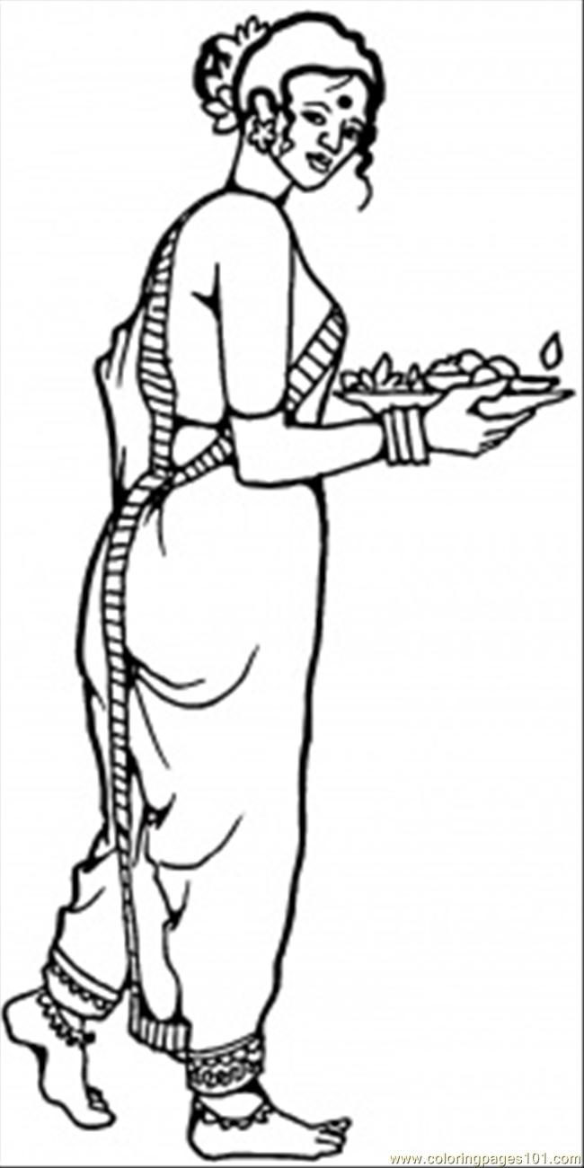 national cloting of indian woman coloring page - Girl Indian Coloring Pages