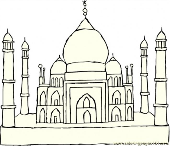 Taj Mahal Coloring Page - Free India Coloring Pages ...