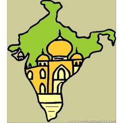 Map Of India Free Coloring Page for Kids