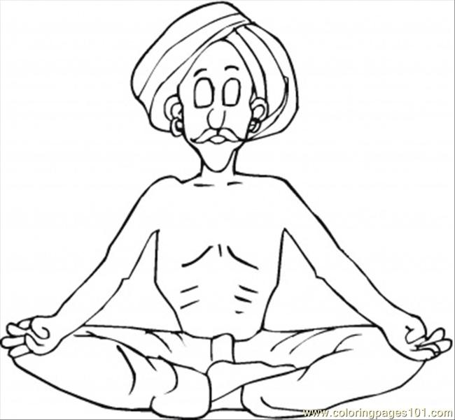 Yoga Man Coloring Page Free India Coloring Pages