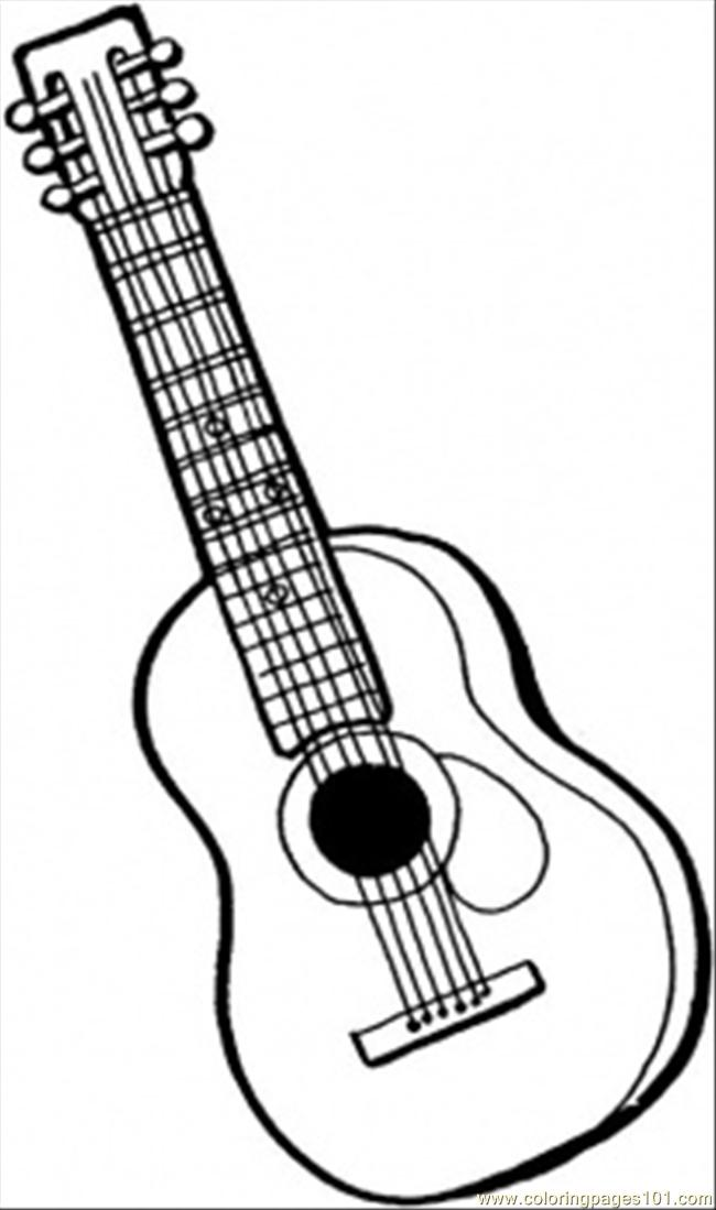 6 string guitar coloring page - Guitar Coloring Pages