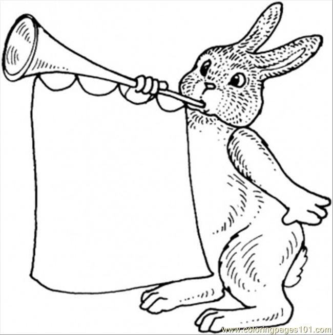Rabbit With Trumpet Coloring Page