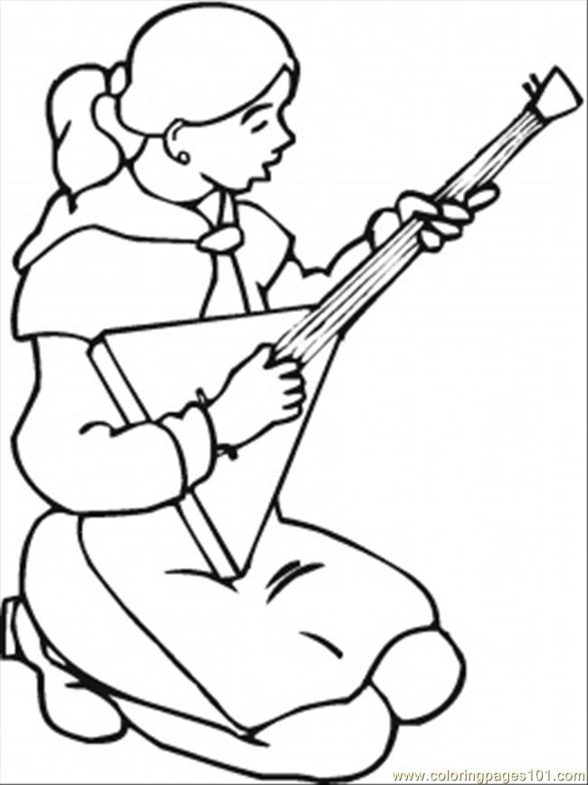 Russian Girl Is Playing Balalaika Coloring Page