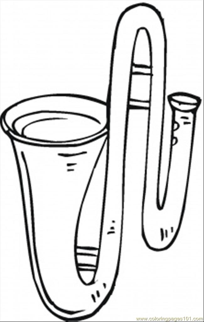Trombone Coloring Page Free Instruments Coloring Pages