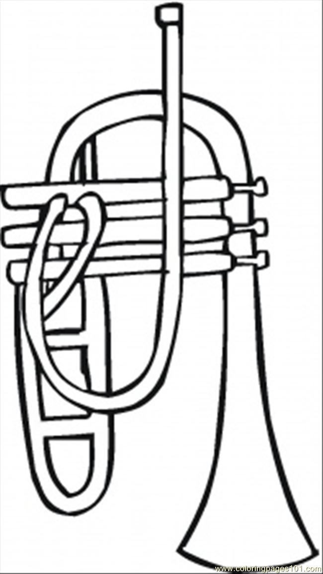 Trumpet coloring page free instruments coloring pages for Trumpet coloring page