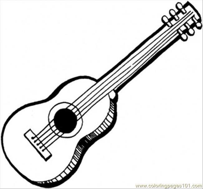 Acoustic Guitar Coloring Page Free Instruments Coloring Pages