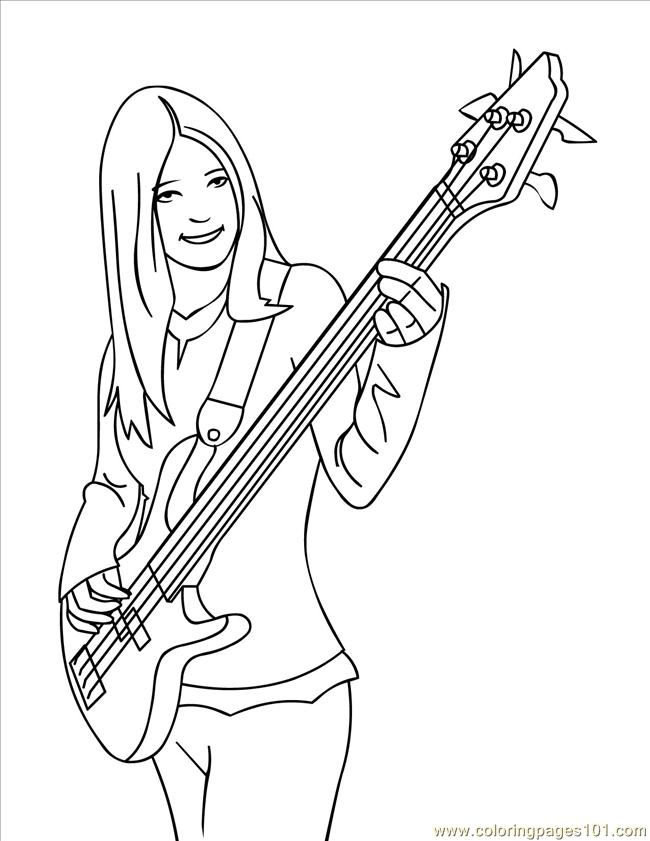 Bass Ink Coloring Page - Free Instruments Coloring Pages :  ColoringPages101.com