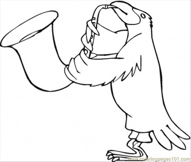 Bird Is Playing Saxophone Coloring Page