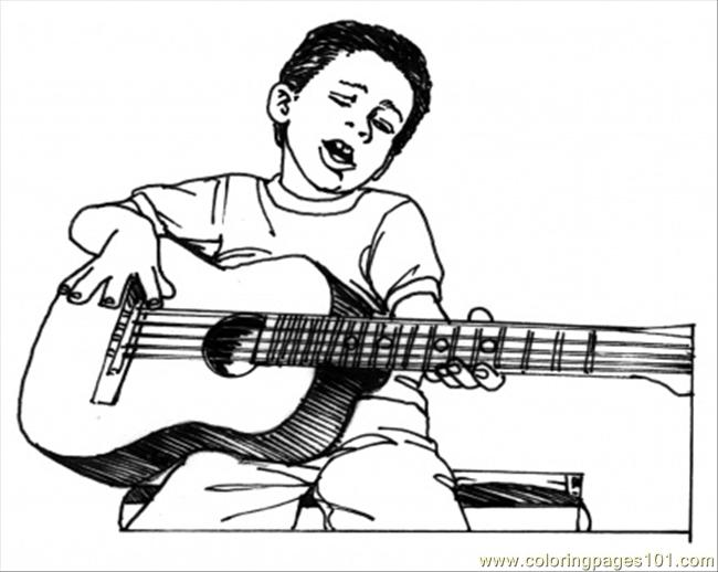 Boy Play Guitar Coloring Page