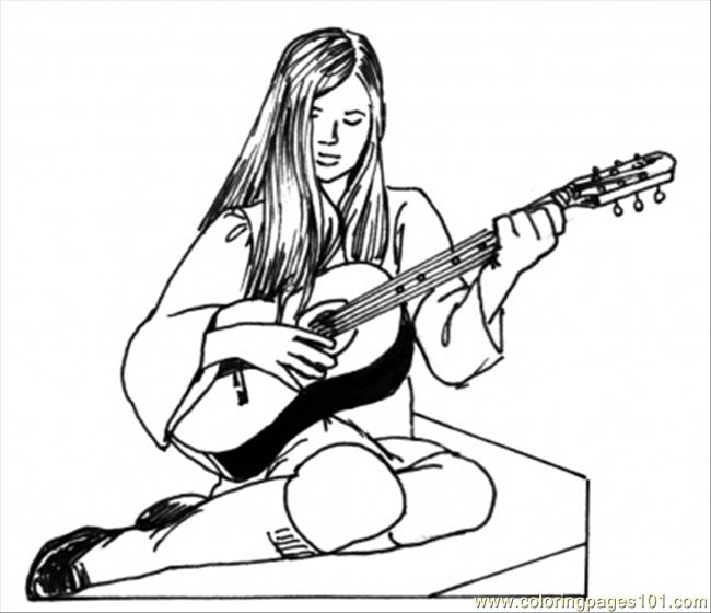 Girl Play Guitar Coloring Page