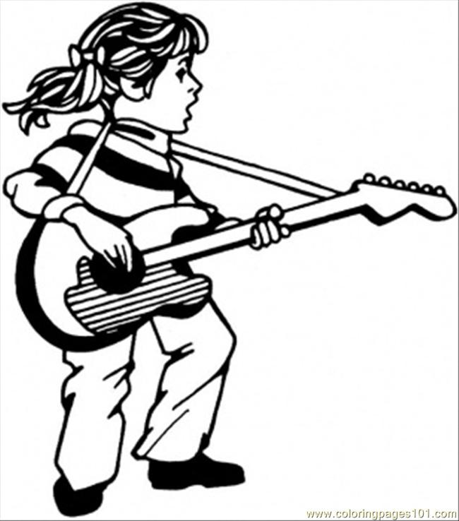 Girl Play Guitar And Sing Coloring Page