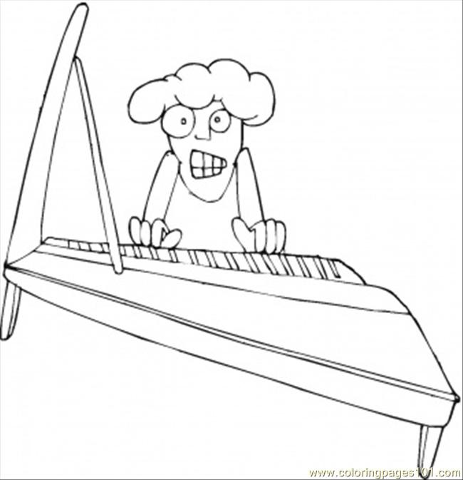 Old Grandma Is Playing Piano Coloring Page