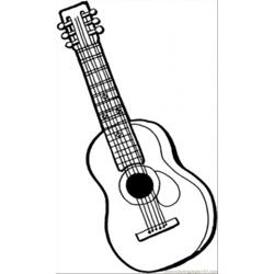 6 String Guitar Free Coloring Page for Kids