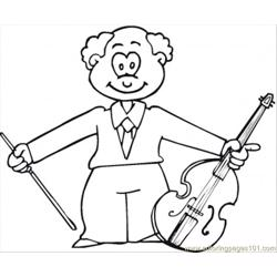 Musician With Viola Free Coloring Page for Kids