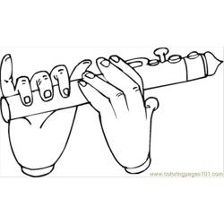 Playing Flute Free Coloring Page for Kids
