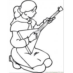 Russian Girl Is Playing Balalaika Free Coloring Page for Kids