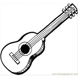 Acoustic Guitar Free Coloring Page for Kids